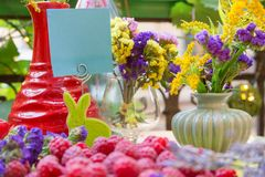 Summer table with fruits and flowers and sticker Royalty Free Stock Image