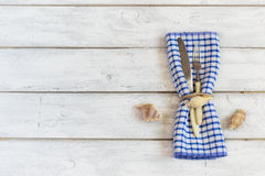 Summer table setting in a nautical theme, with space for text, t. Op view Royalty Free Stock Photo