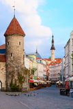 Summer Tallinn. Summer Tallinn in the early morning. Empty streets, the entrance to the old city from the Viru Gate stock image
