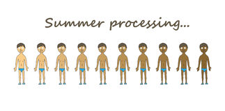 Kinds of summer tan. Summer tan character set.  on a white background Royalty Free Stock Photos