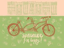Summer tandem bicycle Stock Images