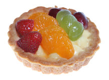 Summer Tart. Delicious fruit tart with grapes, strawberries and mandarin slices Royalty Free Stock Photo