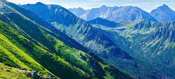 Summer Tatra Mountain panorama ,Poland. Tatra Mountain panorama, Poland, view from Kasprowy Wierch mount Royalty Free Stock Photography