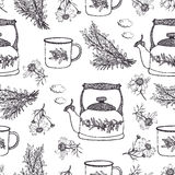 Summer tea background. Black and white hand drawing sketch of flowers, kettles, cups and herbs Royalty Free Stock Photography