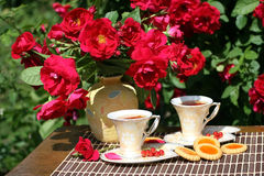 Summer tea in a garden stock images