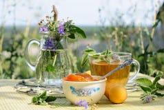 Summer tea time. Apricot jam and mint tea Stock Photo