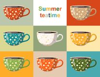 Summer teatime. Colorful collection of cups with floral pattern. Crockery design with beautiful white and yellow flowers. On different vibrant backgrounds royalty free illustration