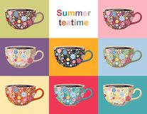 Summer teatime. Cute collection of cups with floral pattern. Crockery design with beautiful flowers. On different backgrounds. Vector set stock illustration