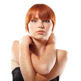 Summer teen girl beautiful freckles redheaded. Isolated on white background Royalty Free Stock Photo