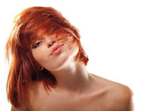 Summer teen girl beautiful freckles redheaded. Isolated on white background royalty free stock image