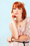 Summer teen girl beautiful freckles redheaded. Over blue background Royalty Free Stock Images