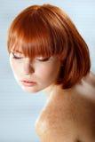 Summer teen girl beautiful freckles redheaded. Indoor royalty free stock photos