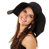 Summer teen girl cheerful in panama Royalty Free Stock Images