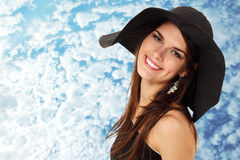 Summer teen girl cheerful in panama Stock Photography