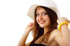 Summer teen girl cheerful in panama enjoying Stock Photo