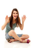 Summer teen girl cheerful sitting Stock Photos