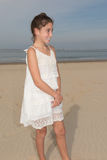 Summer teen girl in white dress posing Royalty Free Stock Photo