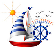 A summer template with a boat Royalty Free Stock Images