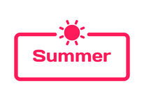 Summer template dialog bubble in flat style on white background. Stamp with sun icon for various word of plot. Vector. Summer template dialog bubble in flat Royalty Free Stock Images