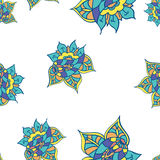 Summer template. Ethnic backdrop. Colorful floral elements. Royalty Free Stock Photography