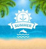 Summer Template of Holidays Design and Typography. Illustration Summer Template of Holidays Design and Typography. Beach Vacation, Party, Travel, Paradise, Palm Stock Photos