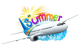 A summer template with a plane Stock Photos