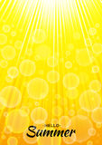 Summer template vector yellow glow background with sun rays and bubbles. Vertical sunlight orange A4 paper size backdrop. Lettering Hello Summer Royalty Free Stock Images