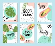 Summer templates with hand drawn tropic fruts and plants stock photo