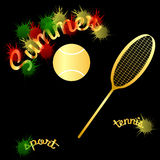 Summer tennis racket ball. Summer tennis racket  ball bright colors Royalty Free Stock Photography