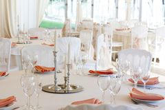 The summer tent is decorated on the wedding day. In pastel  tones Stock Photos