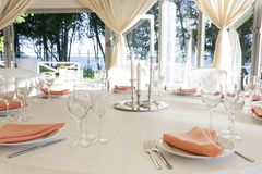 The summer tent is decorated on the wedding day. In pastel  tones Royalty Free Stock Image