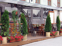Summer terrace. Typical summer view of Moscow cafe restaurant Stock Photo