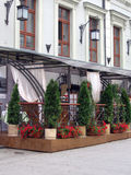 Summer terrace. Typical summer view of Moscow cafe restaurant Royalty Free Stock Images