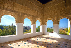 Summer terrace at Alhambra palace. Granada, Andalusia, Spain Stock Photo