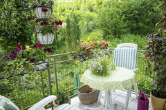 Summer Terrace or Balcony with small Table Royalty Free Stock Photography