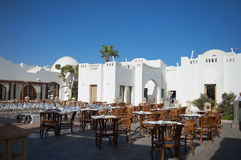 Summer terrace cafe in the Egyptian hotel Royalty Free Stock Photography