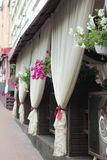 Summer terrace cafe with flowers Royalty Free Stock Photography