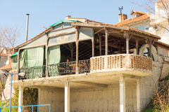 Summer terrace of a coastal restaurant in Pomorie, Bulgaria Royalty Free Stock Images