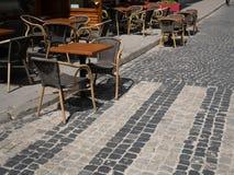 Summer terrace of luxury restaurant on pavement royalty free stock photos