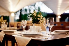 Restaurant table setting royalty free stock photos