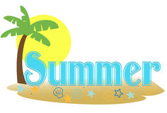 Summer text. Stylized summer text in a palm island setting Royalty Free Stock Photos