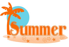 Summer text. Stylized summer text in a palm island setting Royalty Free Stock Image