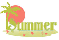 Summer text. Stylized summer text in a palm island setting Stock Image