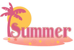 Summer text. Stylized summer text in a palm island setting Stock Images