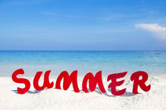 Summer Text with Beach Background Royalty Free Stock Image