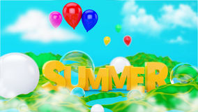 Summer Text 3D scene Royalty Free Stock Photo