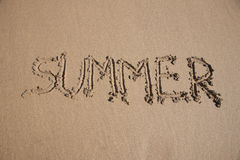 Summer text in earth Stock Image