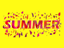 Summer, text with flying triangles. Interference, glitch art. Vector Stock Image