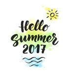 Summer 2017 text, hand drawn brush lettering. Great for party  Royalty Free Stock Photo