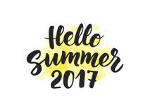 Summer 2017 text, hand drawn brush lettering. Great for party  Royalty Free Stock Image